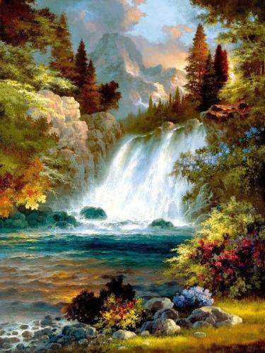 2021 Hot Sale Landscape Mountain Waterfall Paint By Numbers Kits Uk VM91580