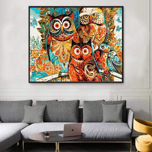 2021 Colorful Modern Art Owl Paint By Numbers Kits Uk XQ2120