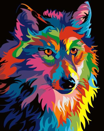 2021 Colorful Wolf Diy Paint By Numbers Kits Uk WM1098