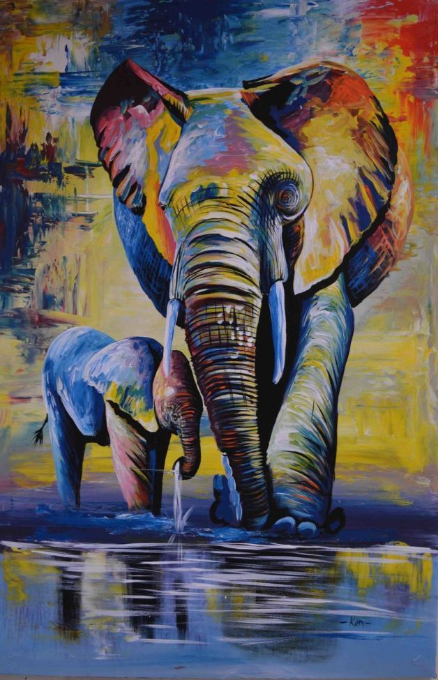 2021 Oil Painting Style Elephant  Diy Paint By Numbers Kits Uk VM90075