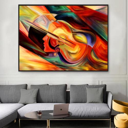 2021 Modern Art Abstract Guitar Woman Paint By Numbers Kits Uk PBN92627