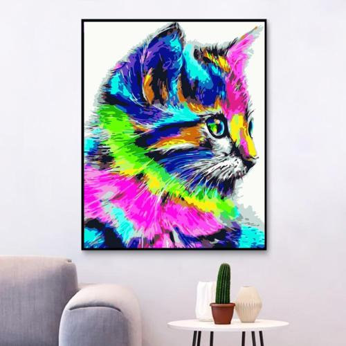 2021 Colorful Cat Diy Paint By Numbers Kits New Hot Sale Uk WM207