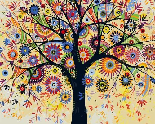 2021 Tree Diy Paint By Numbers Kits UK VM94513