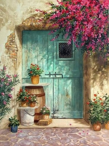 2021 Hand-Drawn Style Beautiful Garden Door Diy Paint By Numbers Kits Uk VM92131