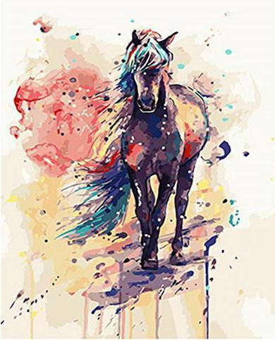 2021 New Arrival Watercolor Style Horse Diy Paint By Numbers Kits Hot Sale Uk WM510