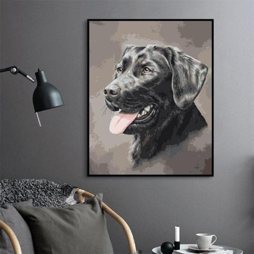 2021 Best Hot Sale Black Dog Diy Paint By Numbers Kits Uk WM1593