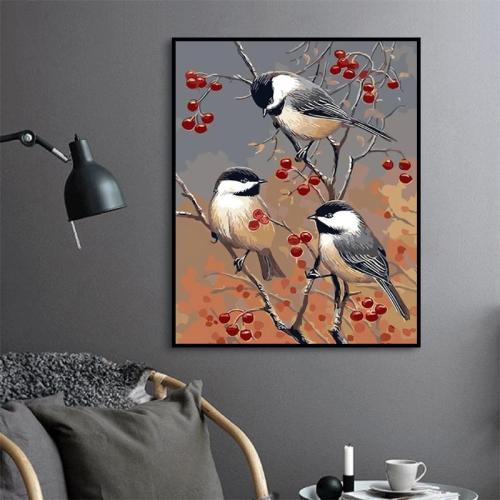 2021 Birds On The Fruit Tree Diy Paint By Numbers Kits Uk PH9288