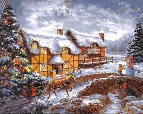 2021 Christmas Series Diy Paint By Numbers Kits Uk NP1436
