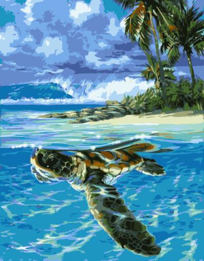 2021 Turtle Diy Paint By Numbers Kits Uk WM1627