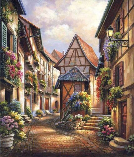2021 New Arrival Hot Sale Landscape Town Street Paint By Numbers Uk VM53658