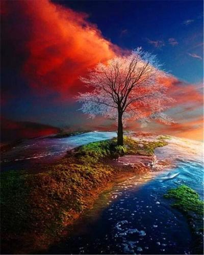 2021 New Arrival Hot Sale Landscape Tree Paint By Numbers Kits Uk PH9218