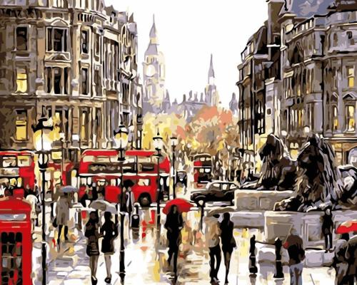 2021 Hot Sale Classic Landscape Busy London Street Paint By Numbers Kits WM1028