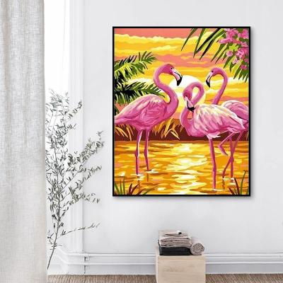 2021 Pink Flamingo Diy Paint By Numbers Kits Uk VM92136