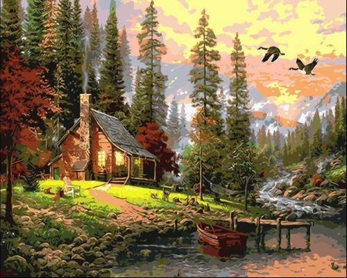 2021 Beautiful Lacnscape Cottage Diy Paint By Numbers Kits Hot Sale Uk VM93066