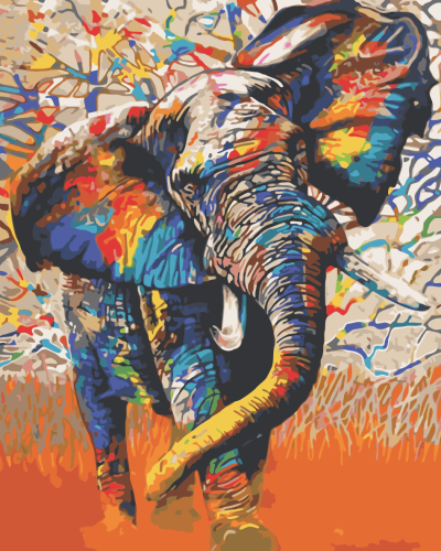 2021 Colorful Modern Art Elephant Diy Paint By Numbers Kits Uk WM1058
