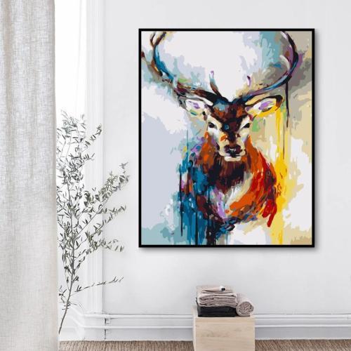 2021 Fantasy Style Deer Diy Oil Paint By Numbers Kits Uk Hot Sale WM1526