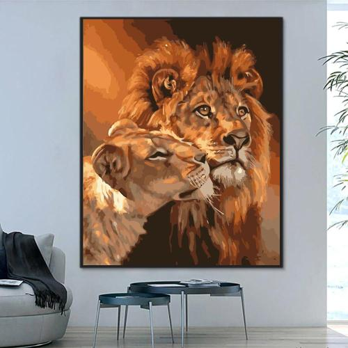2021 Best Hot Sale Lion Paint By Numbers Kits Uk WM394