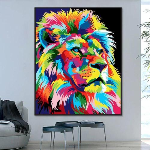 2021 Best Hot Sale Lion Paint By Numbers Kits Uk WM592