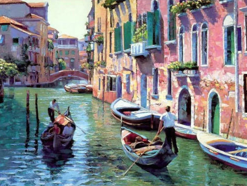 2021 Beautiful Landscape Boating Venice Paint By Numbers Kits Uk VM00045