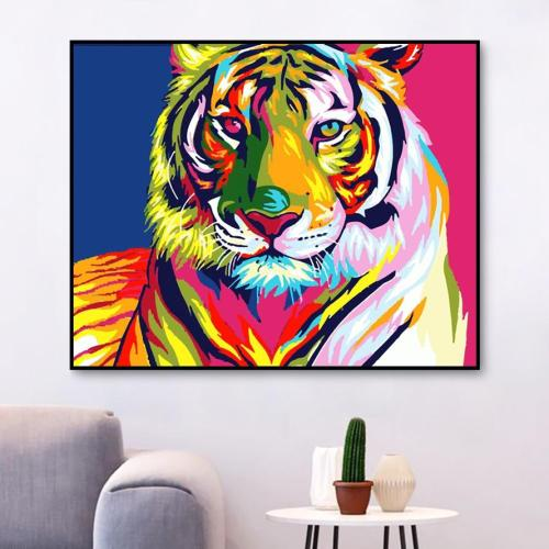 2021 Colorful Modern Art Tiger Paint By Numbers Kits Uk WM591