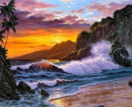 2021 Beautiful Landscape Nature Waves Rocks Paint By Numbers Kits Uk VM00157