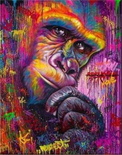 2021 Colorful Modern Art Animal Monkey Paint By Numbers Kits Uk VM92293