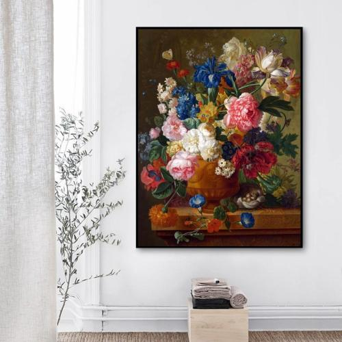 2021 Retro Oil Painting Style Flower Diy Paint By Numbers Kits Uk VM91560