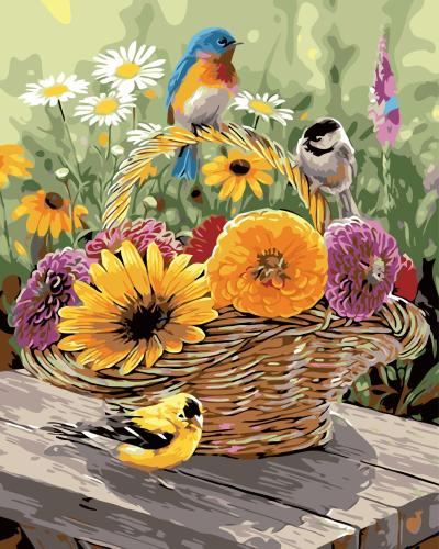 2021 Hot Sale Cute Birds And Beautiful Flowers Diy Paint By Numbers Kits Uk WM074