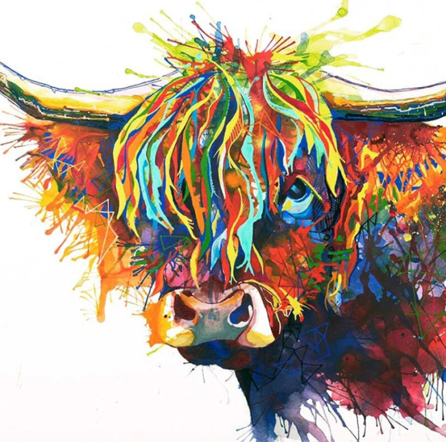 2021 Best Fashion Colourful Bull Diy Paint By Numbers Kits Online Sale UK VM95989