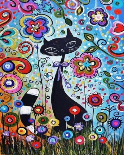 2021 Black Cat & Flower Diy Paint By Numbers Kits New Arrival Hot Sale UK VM94790