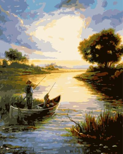 2021 Hot Sale Classic Landscape Lake Diy Paint By Numbers Kits Uk WM624