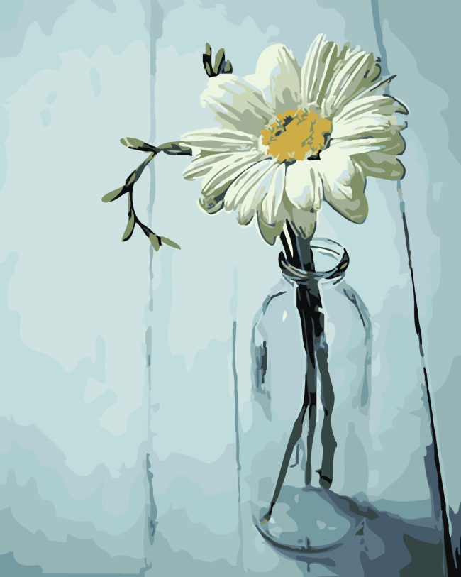 2021 White Flower & Glass Bottle Diy Paint By Numbers Uk VM90418