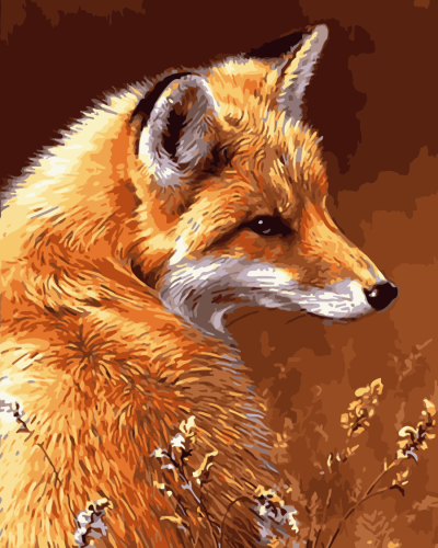 2021 Oil Painting Style Fox Diy Paint By Numbers Kits Hot Sale Uk WM1540