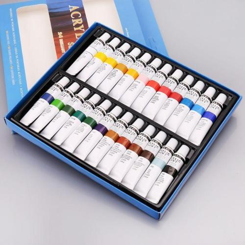 24 Colors Acrylic Paints Set 12ml Tubes Drawing Painting Pigment