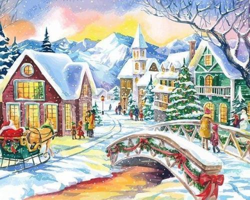 2021 Christmas Series Diy Paint By Numbers Kits Uk NP1173