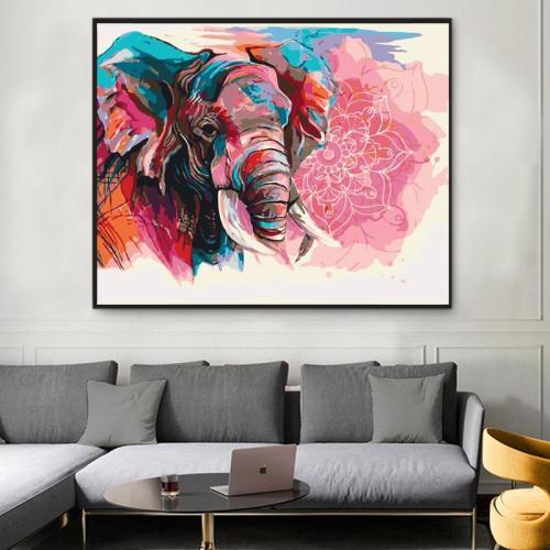 2021 Colorful Modern Art Elephant & Flower Diy Paint By Numbers Kits UK VM30025