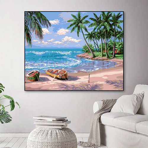 2021 Hot Sale Landscape Summer Beach Paint By Numbers Kits UK YM200