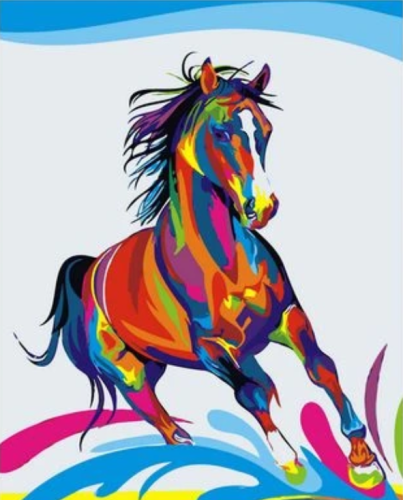 2021 Colorful Modern Art Animal Horse Paint By Numbers Kits Uk VM85054