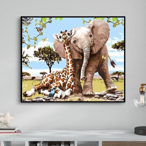 2021 Cute Cartoon Elephant & Giraffe Diy Paint By Numbers Kits Uk WM374