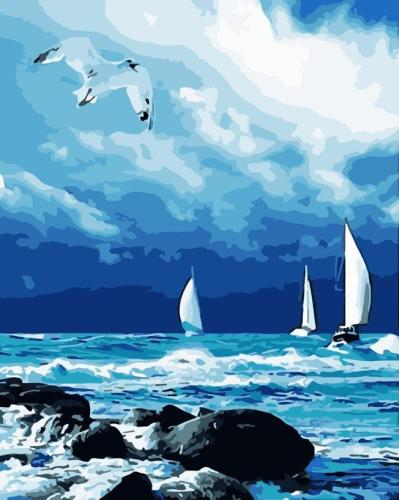 2021 Boat And Blue Sky Diy Paint By Numbers Kits Online Sale Uk WM333