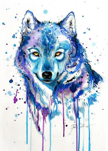 2021 Beautiful Watercolor Wolf Diy Paint By Numbers Kits Uk VM91530