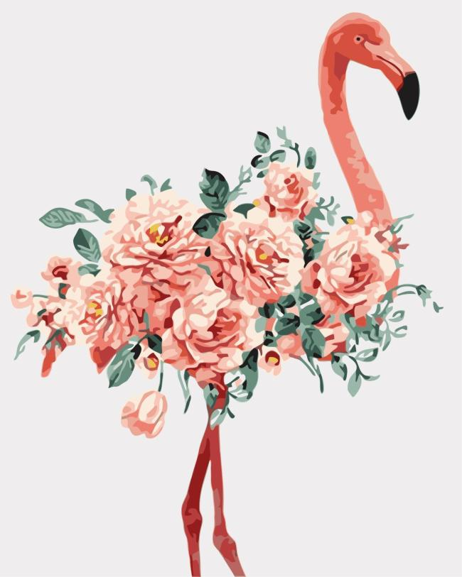 2021 Watercolor Flamingo With Flowers Diy Paint By Numbers Kits Uk WM1269