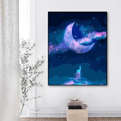 2021 Best Fantasy Style Landscape Moon Diy Paint By Numbers Kits Uk WM1262