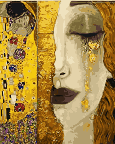 2021 Woman With Special Golden Tears Diy Paint By Numbers Kits UK WM694