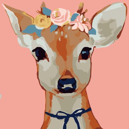 2021 Cute Cartoon Deer Animal Diy Paint By Numbers Kits UK VM97305