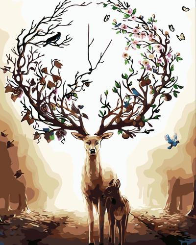 2021 Beautiful Deer & Bird Diy Paint By Numbers Kits Hot Sale Uk WM705