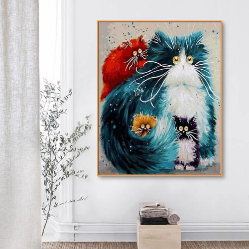 2021 Cute Cartoon Pet Four Colorful Cats Paint By Numbers Kits Uk VM00106