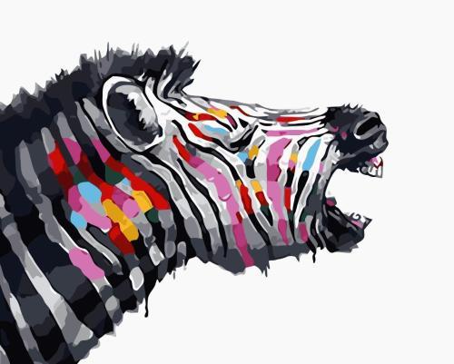 2021 Colorful Modern Art Zebra Paint By Numbers Kits Hot Sale Uk GX985