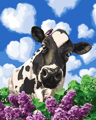 2021 Cute Cow & Flower Diy Paint By Numbers Kits Hot Sale Uk WM367
