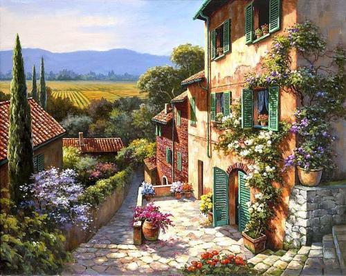 2021 New Arrival Hot Sale Landscape Cottage Diy Paint By Numbers Kits Uk VM90886